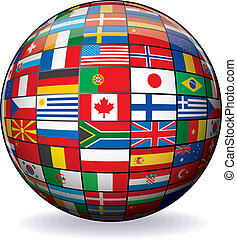 mundo, imagen, vector, banderas, globe.