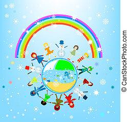 mundo, inverno, crianças