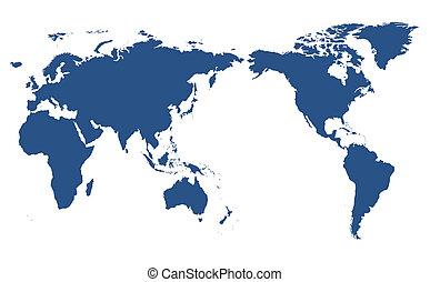 mundo, isolado, mapa