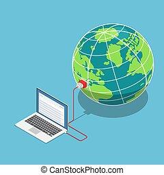 mundo, isometric, conectado, laptop