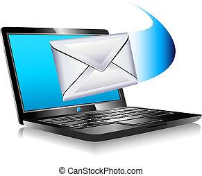 mundo, laptop, sms, remetendo, email