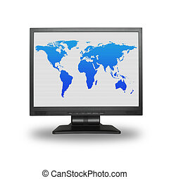 mundo, lcd, pantalla, mapa