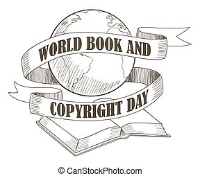 mundo, libro, y, propiedad literaria, día