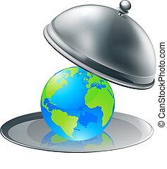 mundo, ligado, um, prato