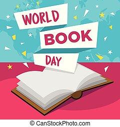 mundo, livro, dia, feliz