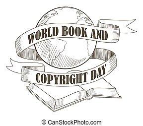 mundo, livro, e, direitos autorais, dia