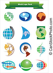 mundo, logotipo, pacote