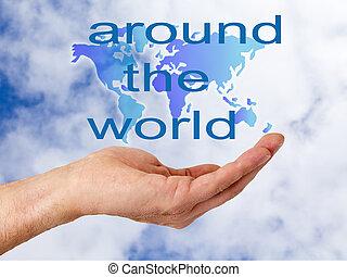 mundo, mão, mapa