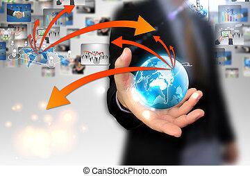 mundo, mão, negócio, segurando, mapa