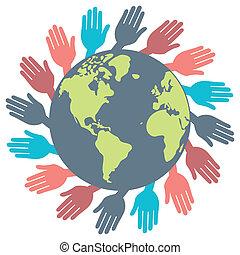 mundo, mãos, design.