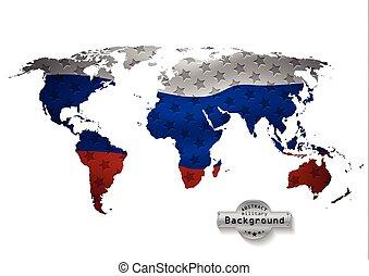 mundo, mapa, com, tudo, estados, e, seu, flags., vetorial