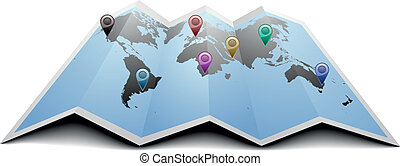 mundo, marcadores, mapa