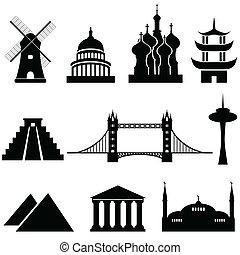 mundo, marcos, e, monumentos