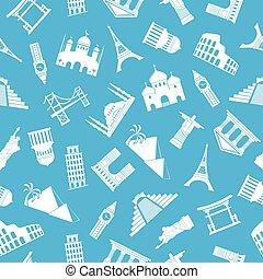 mundo, marcos, silhuetas, seamless, padrão