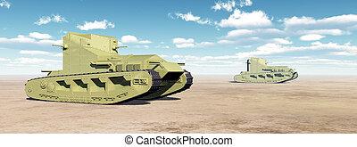 mundo, medio, tanques, británico, guerra