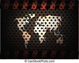 mundo, metal, fundo, mapa