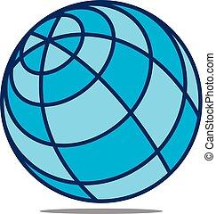 mundo, modelo, logotipo