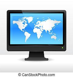 mundo, monitor computador, mapa