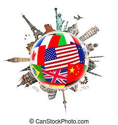 mundo, monumento, ilustração, famosos