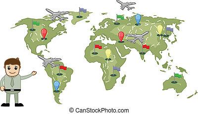 mundo, mostrando, conceito, viagem, homem