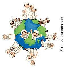 mundo, muçulmano, ao redor, pessoas