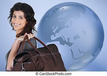 mundo, mulher, sobre, viajando