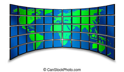 mundo, multimedia, monitor