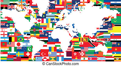 mundo, nacional, bandeiras, mapa