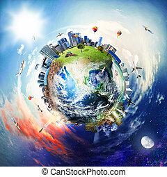 mundo, negócio global, vista