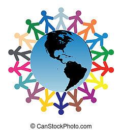 mundo, niños, alrededor