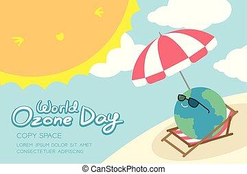 mundo, ozono, día, 16, septiembre, horizonte, bandera, conjunto, calentamiento del planeta, concepto, sonrisa, tierra, con, gafas de sol, paraguas, silla, playa, sol, cielo, y, nube, ilustración, aislado, con, espacio de copia