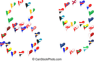 mundo, país, bandeira, coração, numere 8, 9