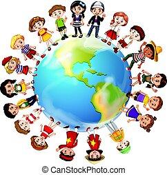 mundo, países, alrededor, muchos, niños