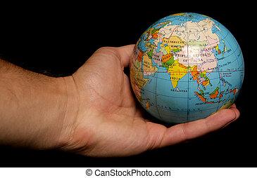 mundo, palma, seu, mão
