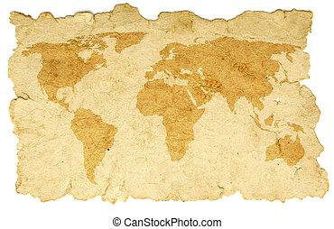 mundo, papel, antigas, mapa