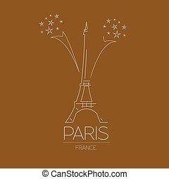 mundo, paris., landmarks., francia