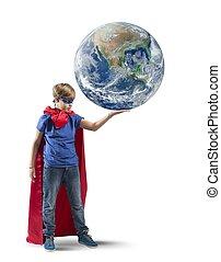 mundo, pequeno, salvar, superhero