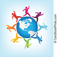 mundo, pessoas, ao redor, americas