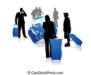 mundo, pessoas viajando, ao redor