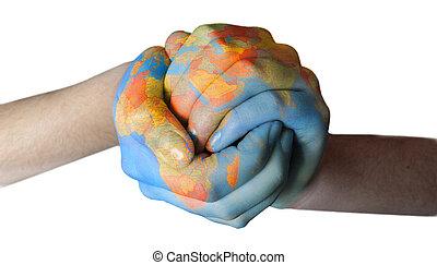mundo, pintado, ligado, mãos