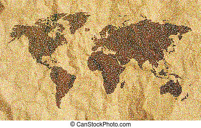 mundo, pontos, mapa