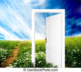 mundo, porta, novo
