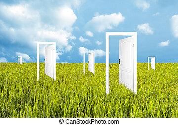 mundo, portas, novo