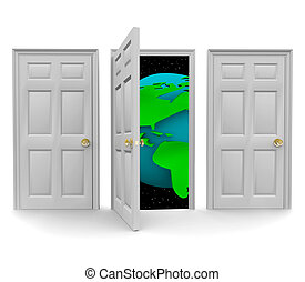 mundo, puerta, elegir, oportunidad