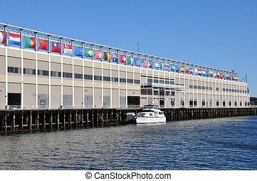 mundo, puerto marítimo, centro, comercio