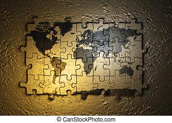 mundo, quebra-cabeça, mapa