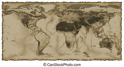 mundo, quemado, mapa