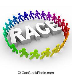 mundo, raça, -, ao redor, corredores
