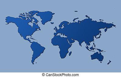 mundo, recorte, mapa, trayectoria