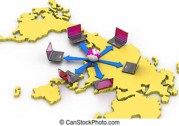mundo, rede computador